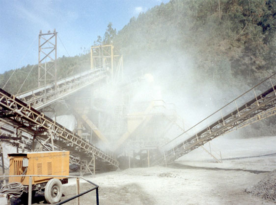 Dust Foam Suppression on a Crusher - Before Suppression